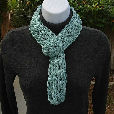 f0741f332 SUMMER SCARF Infinity Loop Solid Light Teal Green Small Skinny Crochet Knit  Cowl