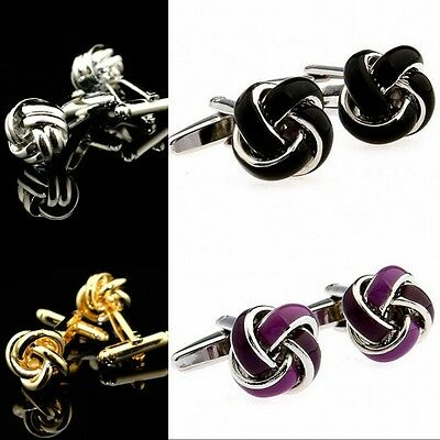 Mens Stainless Steel Silver gold Shirt knot Cufflinks fit Wedding Business party