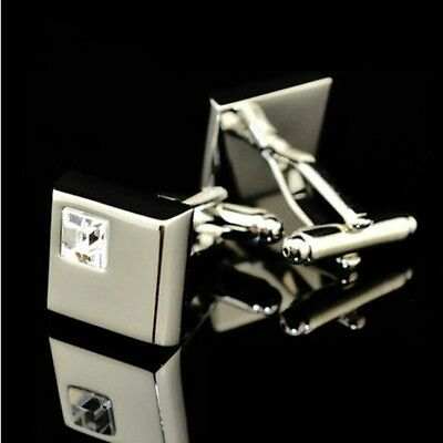 Mens Stainless Steel Wedding Business party white Crystal Silver Shirt Cufflinks