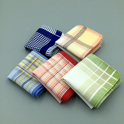 Women 100% Cotton Colored Plaids Checks Handkerchief Pocket Square Hanky 29*29cm