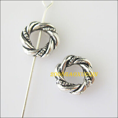 12Pcs Tibetan Silver Twist Ring Spacer Beads Charms Frame 11.5mm