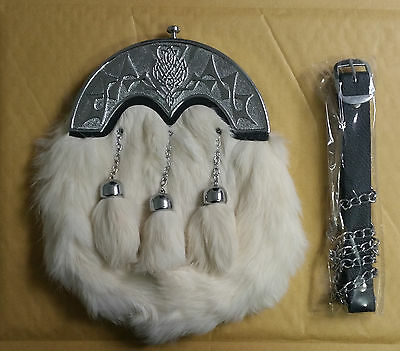 SCOTTISH Full Dress White Rabbit Sporran 3 Tassels Sporran With Belt And Chain