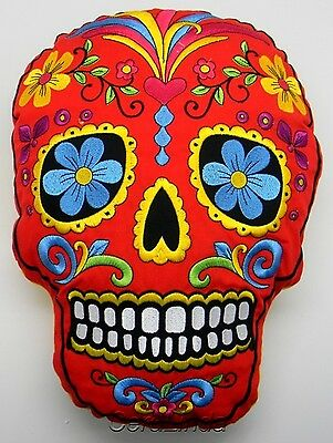 SUGAR SKULL PILLOW red embroidered Day of the Dead skull-shaped new