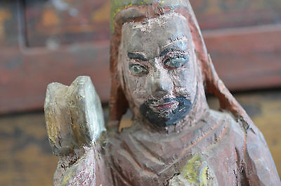 Antique 19th Chinese Lacquered Wood Carved Monk Man Figure Great Gift