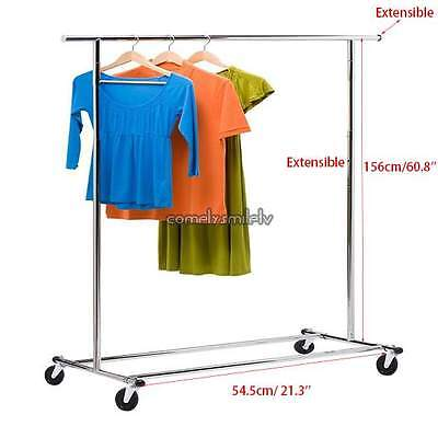 60.8'' Heavy Duty Commercial Grade Clothing Garment Rolling Rack Adjustable US