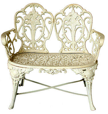 INCREDIBLE Outdoor Cast Iron Antique White Victorian KIMBERLEY Bench Seat Chair