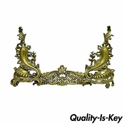 Pair French Louis XV Rococo Styl Bronze Brass Acanthus Andirons Fireplace Fender