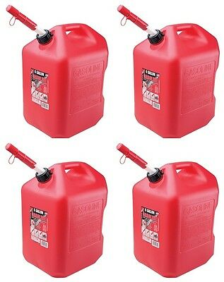 (4) Midwest 6600 6 Gallon Red Plastic Gas Cans Containers w Spill Proof Spouts