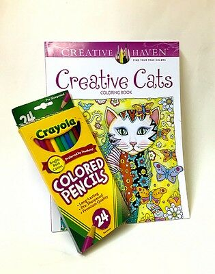 Creative Cats Coloring Book Set w Pencils For Adults and Teens Fun and Calming