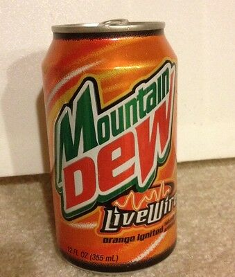 (1.  ) 2003 Mountain Dew Live Wire Empty Can Free Shipping. Rare Open Top