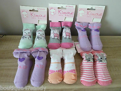 Lot De 6 Paires De Chaussette Bebe Fille Gris Rose Parme Orange 6I12 Mois 47D
