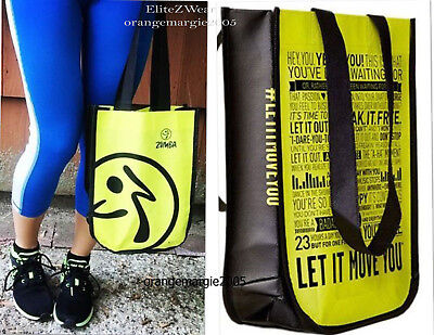 "ZUMBA 2 Tote Bags 9""x 12""x 4"" Travel/Cosmetic~Gym/Shoe Bag~Lunch fr.Convention"