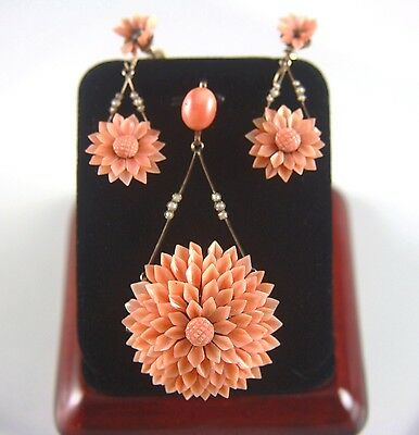 Victorian 9ct Gold Coral Chrysanthemum Pendant Earrings Set