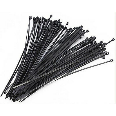 100pcs Black 4.8x300mm Self Locking Nylon Fasten Zip Cable Tie Wire Wrap Strap