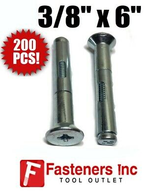 "(200) 3/8"" x 6"" Flat Head Phillips Concrete Sleeve Anchors Zinc Plated"