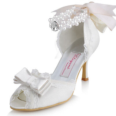 A3202 Peep Toe High Heels Lace Trim Ribbon Bow Pearls Satin Wedding Bridal Shoes