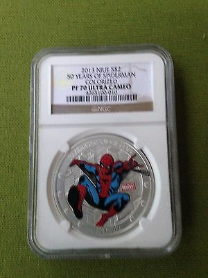 2013 Niue 50 Years of SpiderMan 1 oz Silver  Colorized  NGC PF70 with Box/COA