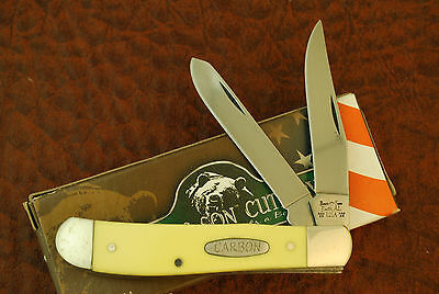 Bear & Sons Usa Carbon Steel Yellow Composition Mini Trapper Knife Nice (Sm284)
