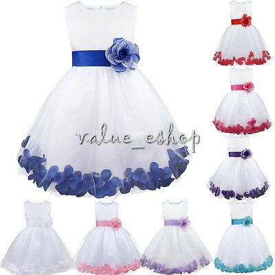 Petals Baby Flower Girl Dress Princess Bridesmaid Communion Wedding Formal Party