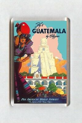 Vintage Air Travel Poster Fridge Magnet - Guatemala By Clipper Pan American (2)