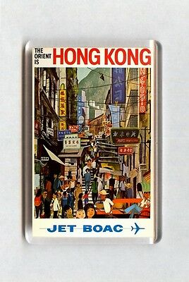 Vintage Air Travel Poster Fridge Magnet - The Orient Is Hong Kong. Jet BOAC