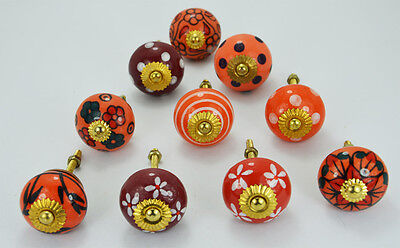 10 pcs Light Red Ceramic Knobs / pulls  in different design and Brass hardware