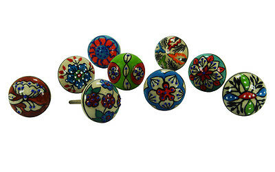 Amazing 10 Pic White dotted Decorative Flower Ceramic Knobs With chrome Hardware