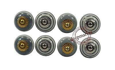 Set Of 8 Pieces Gray Color Ceramic Knobs Cupboard Drawer Handle Pulls - 9851122