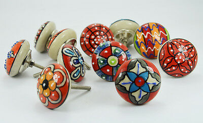 10 Pcs white Dotted Red Ceramic Knobs / pulls with mix Design & chrome hardware