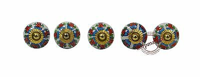 Set of 5 Pcs Red With Mix Color Ceramic Knobs Cupboard Drawer Handle Pulls-56510