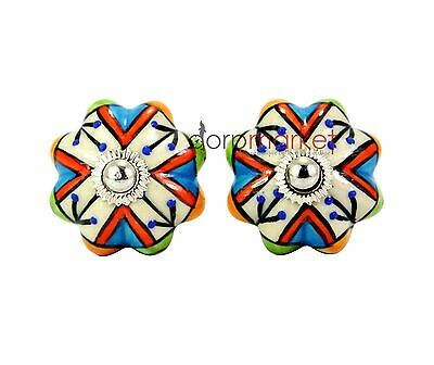 12 Pcs Blue Doted Multi Color Kitchen / dress Ceramic Knobs Cupboard drawer Pull