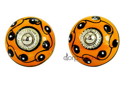 12Pcs Orange,Black Color & White Dotted dress Ceramic Knobs Cupboard drawer Pull
