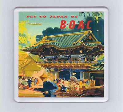 Vintage Air Travel Poster Drink Coaster - Fly To Japan By BOAC