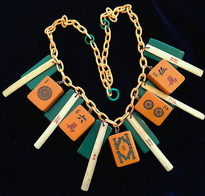 Vintage bakelite, galalith and early plastic gambling necklace