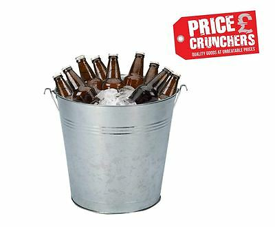 9 Litre Galvanised Metal Beer Bucket Heavy Duty Wine Cooler Ice Bucket Garden
