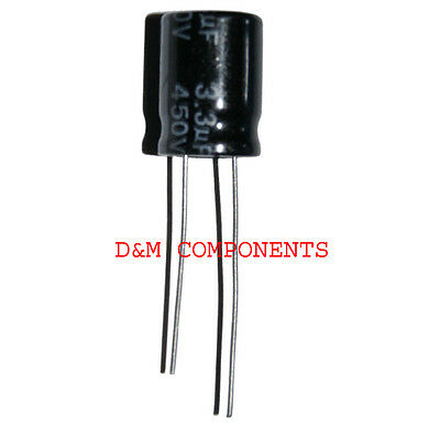 3.3uF 450V Radial Electrolytic Capacitors 105'C Pack of  2, 5 or 10
