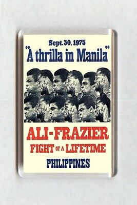 Old Boxing Poster Fridge Magnet - Muhammad Ali vs Joe Frazier Thrilla In Manila