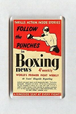 Old Boxing Poster Fridge Magnet - Follow The Punches In Boxing News