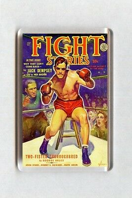 Old Boxing Poster Fridge Magnet - Fight Stories Magazine Cover