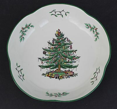 Vintage Signed Spode Porcelain Holiday Christmas Tree Daisy Bowl Plate 9""