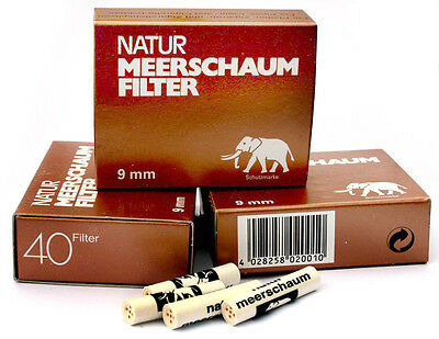 120 x 9mm MEERSCHAUM pipe FILTERS made in Germany - 3 boxes