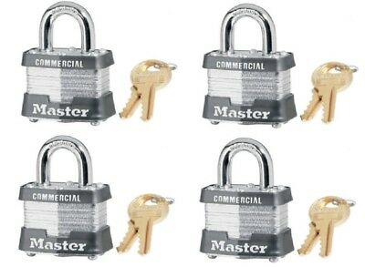 "(4) ea Master Lock 3KA-3447 1-1/2"" Laminated Keyed Alike Padlock w 3/4"" Shackle"