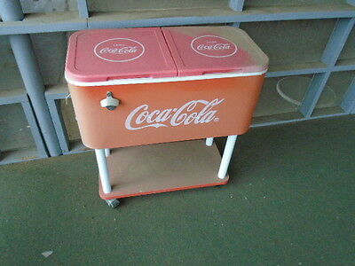 Vintage Coca Cola Rolling Drink Cooler Patio Bottle Opener Coke Shelf Ice Cold