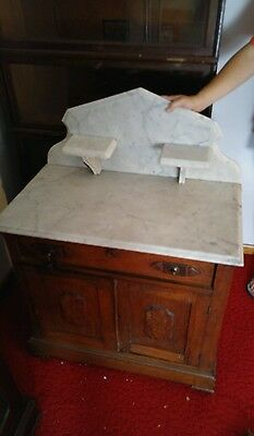Antique Dry Sink Marble Top Washerstand Commode Bathroom Cabinet Stand