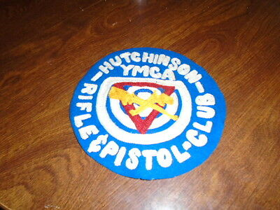 Large Vintage YMCA Rifle & Pistol Club Hutchinson KS Patch 6.5 Inch