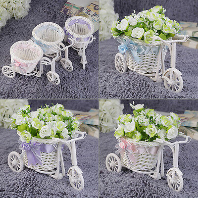 BowKnot Rattan Tricycle Bike Basket Party Wedding Decor Gift Home Decor LO