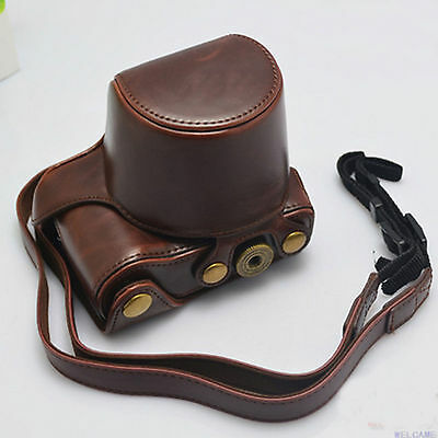New Leather Cover Case Bag for Sony A6000 Camera With Shoulder Strap brown