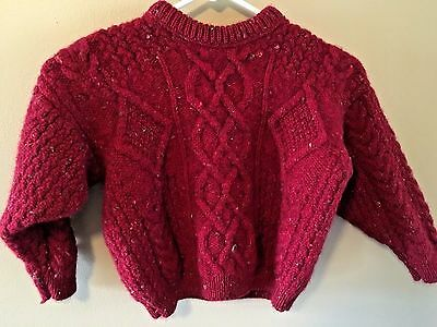 Quill's Woolen Market Child's Red Irish Wool Sweater Cable Knit Ireland 4T?