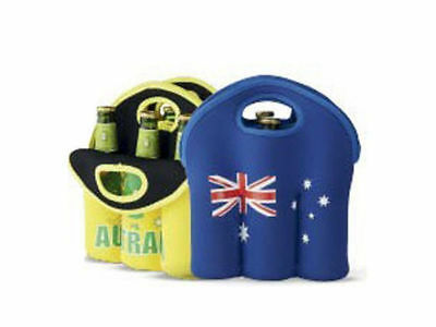 Australian souvenir stubbie 6 pack cooler carrier with handle blue only