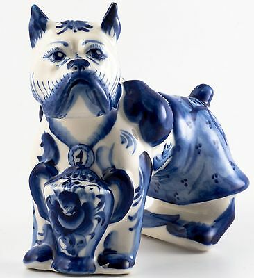 Porcelain Boxer w gloves & Champion Chalice Dog Figurine Gzhel colors handmade